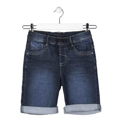 Bermuda Denim Losan niño junior cinco bolsillos efecto felpa con cordón