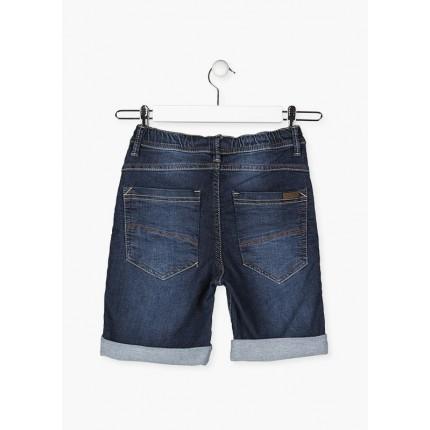 Parte trasera de Bermuda Denim Losan niño junior cinco bolsillos efecto felpa con cordón