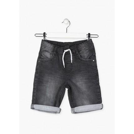 Bermuda Denim Losan niño junior cinco bolsillos efecto felpa lavado con cordón