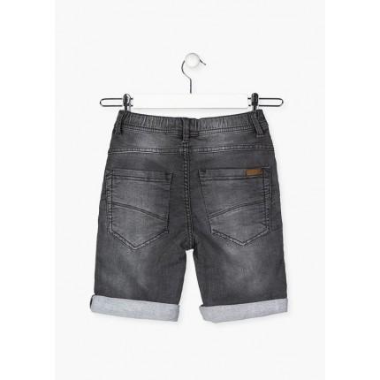 Parte trasera de Bermuda Denim Losan niño junior cinco bolsillos efecto felpa lavado con cordón