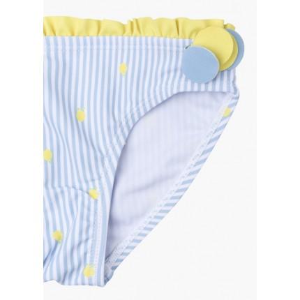 Detalle estampado de Braguita de baño Losan Kids niña infantil de rayas con piezas laterales
