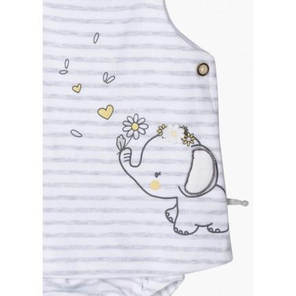 Detalle dibujo de Vestido New Born Losan Baby Elephant tirantes con braguita