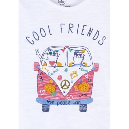 Detalle dibujo de Camiseta Losan Kids niña infantil Cool Friends manga corta