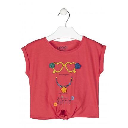 Camiseta Losan Kids niña Heart Sunglasses manga corta