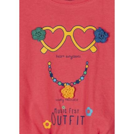 Detalle estampado de Camiseta Losan Kids niña Heart Sunglasses manga corta
