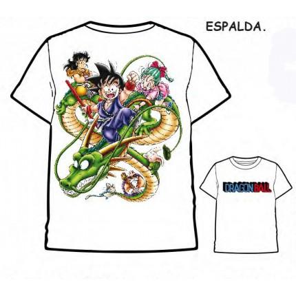 Camiseta Dragon Ball Son Goku Bulma y Dragon Shenron adulto manga corta