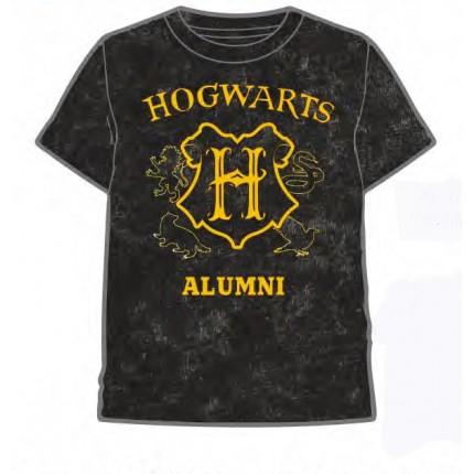 Camiseta Harry Potter adulto Hogwarts manga corta negro lavado
