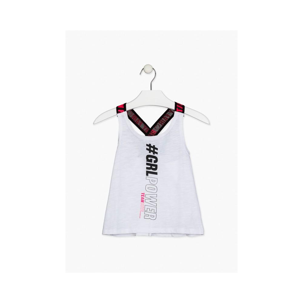 Camiseta Losan niña junior Girl Power con tirantes elásticos