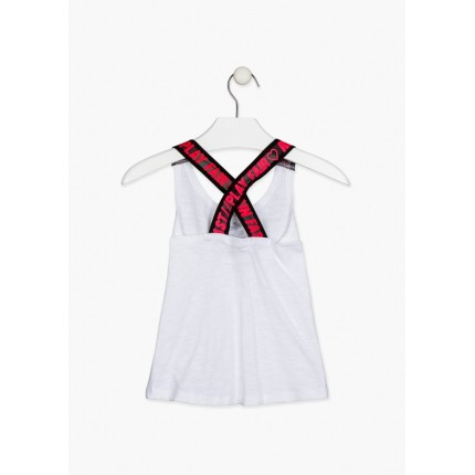 Espalda de Camiseta Losan niña junior Girl Power con tirantes elásticos