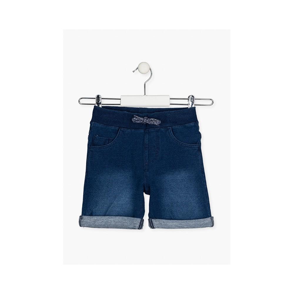 Bermuda Denim Losan niño junior con cordón felpa azul