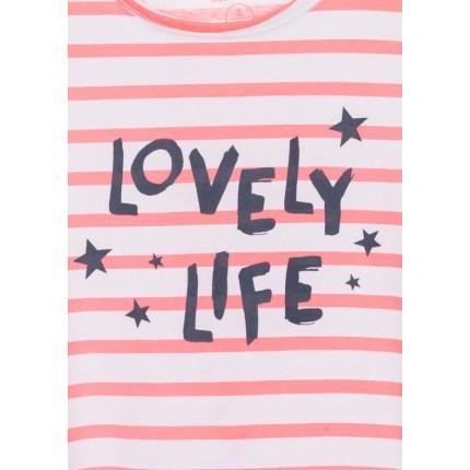 Detalle estampado de Camiseta Losan niña junior Lovely Life sin mangas
