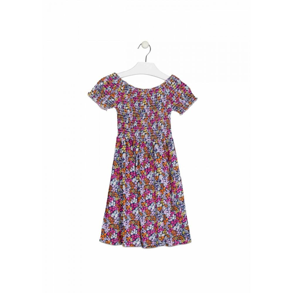 Vestido Losan niña junior fruncido flores manga corta