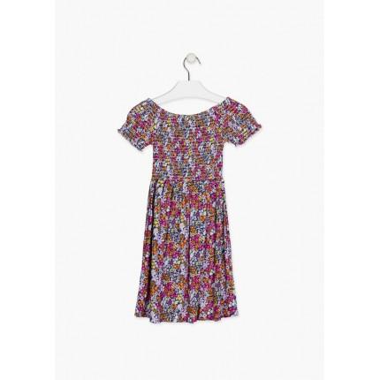Espalda de Vestido Losan niña junior fruncido flores manga corta