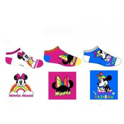 Calcetines Minnie tobilleros Disney pack de 3 surtido en blanco fucsia y azul medio
