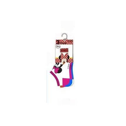 Detalle de Calcetines Minnie tobilleros Disney pack de 3 surtido en blanco fucsia y azul medio