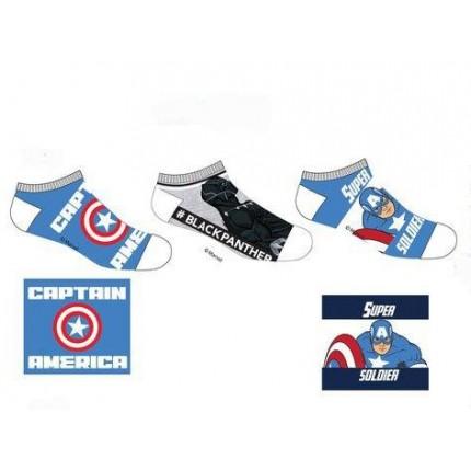 Calcetines Vengadores tobilleros Marvel niño cortos surtido azul medio, blanco, azul medio
