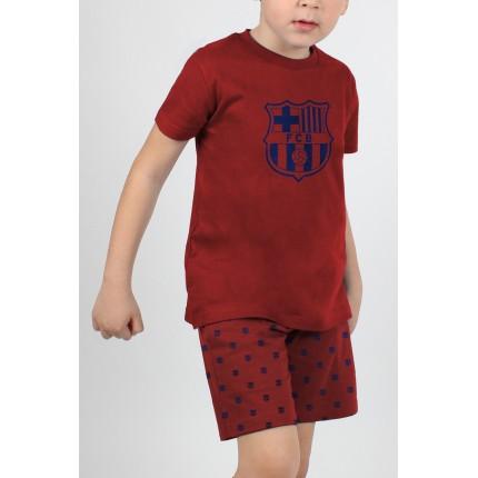 Modelo con Pijama FC Barcelona niño Escudo manga corta