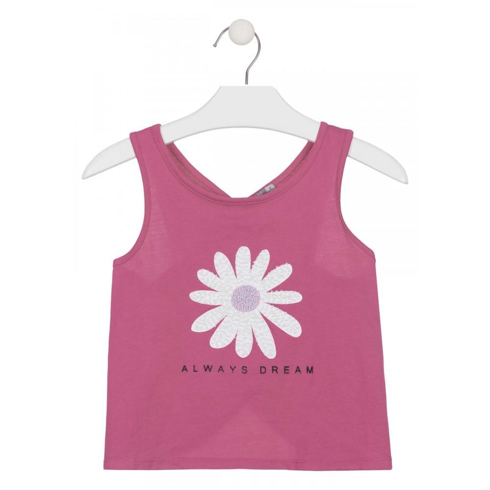 Camiseta Losan niña junior sin mangas en punto liso con aplique