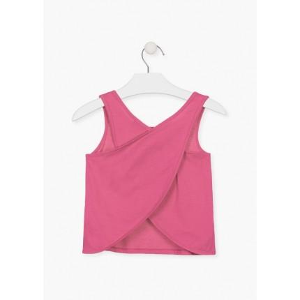 Espalda de Camiseta Losan niña junior sin mangas en punto liso con aplique