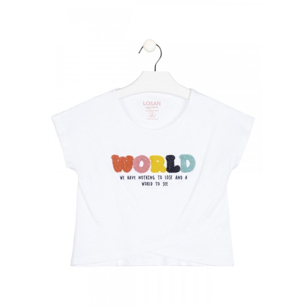 Camiseta Losan niña junior manga corta con delantero cruzado y print