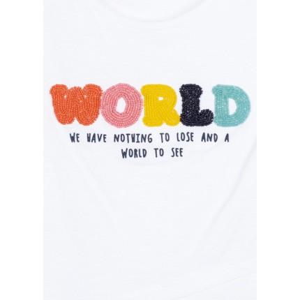 Detalle dibujo de Camiseta Losan niña junior manga corta con delantero cruzado y print