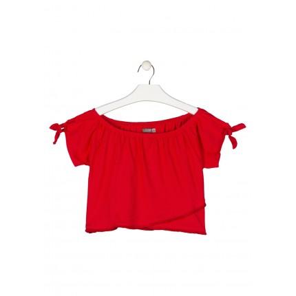 Camiseta Losan niña junior manga corta con nudos y flecos en el bajo
