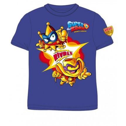 Camiseta Súper Zings niño infantil manga corta, en azul.