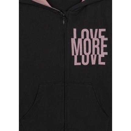 Detalle estampado de Chaqueta LSN junior niña More Love con capucha