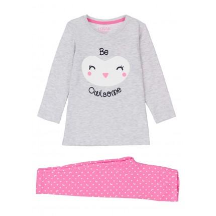 Pijama Losan kids niña Be Owlsome punto liso