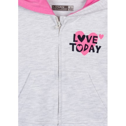 Detalle de estampado de Chaqueta Losan Kids niña Love Today con capucha