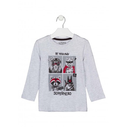 Camiseta Losan kids niño infantil SuperHero manga larga