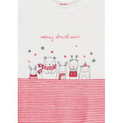 Detalle del dibujo de Pijama Losan New Born de tundosado navideño con bolsa