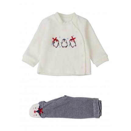 Conjunto Losan New born Penguin de sudadera y polaina con bolsa