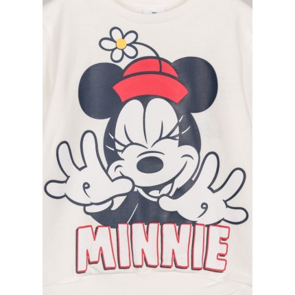 Detalle del dibujo de Sudadera Minnie Disney niña de felpa perchada