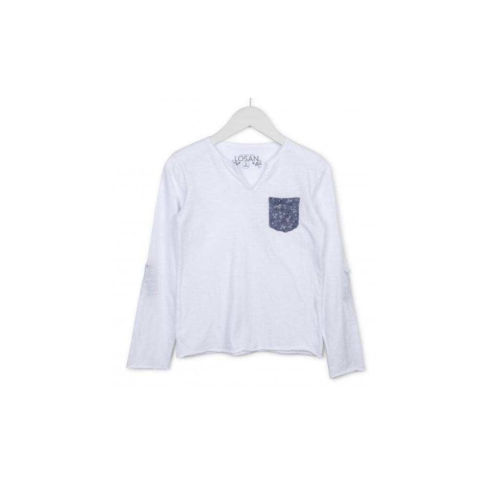 Camiseta Losan niña junior Liberty bolsillo manga larga
