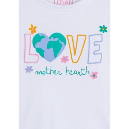 Detalle estampado de Camiseta Losan Kids niña Love manga larga