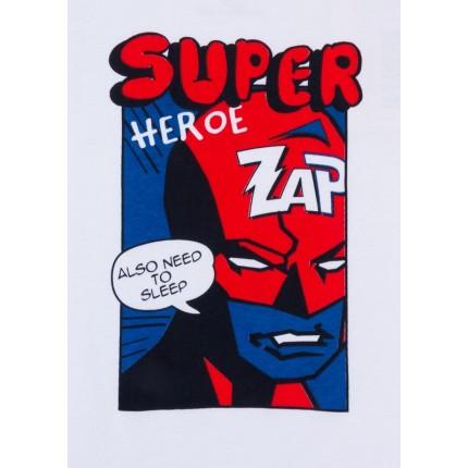 Detalle del dibujo de Pijama Losan Kids niño Súper Heroe manga larga interlock