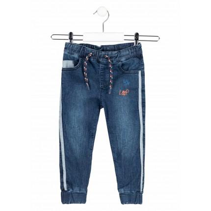 Pantalón Denim efecto felpa Losan niño con parches de velcro slim fit