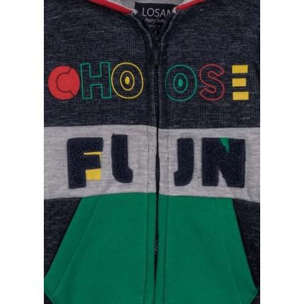 Detalle de la Chaqueta Losan kids niño Choose Fun con cremallera y capucha