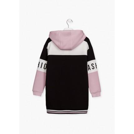 Espalda de Vestido LSN junior niña con cremalleras en los bolsillos y capucha