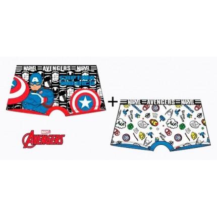Bóxer Vengadores niño Marvel pack de 2 combinación azul y blanco