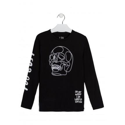 Camiseta LSN Junior niño con calavera bordada